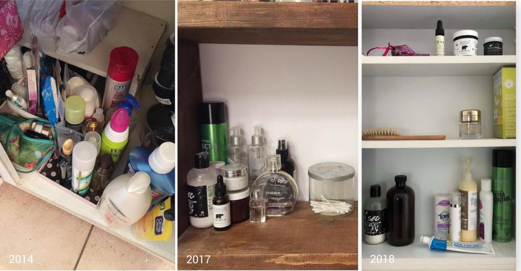 minimalisme, processus désencombrement, produits hygiène